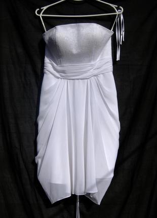 Белоснежное красивое короткое вечернее платье lilly с корсетом