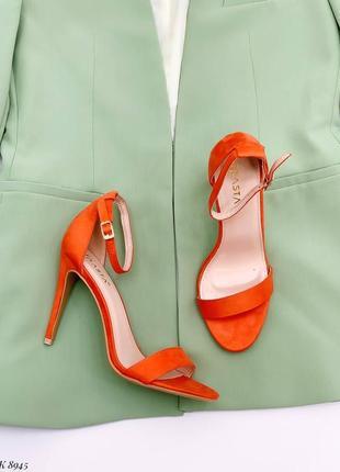 Босоножки босоножки эко замш на тонком каблуке высокий средний марсала оранжевые  яркие летние