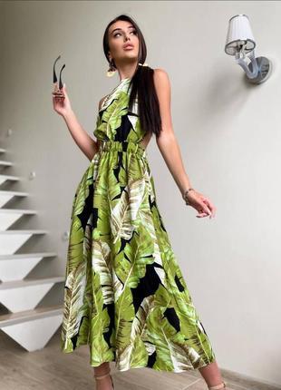 Платье хлопок миди с открытой спиной в принт листья