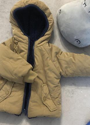 Куртка zara двухсторонняя 9/12 мес, 80 см