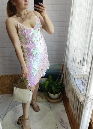 Яркое платье zara в крупную паетку/блёстки