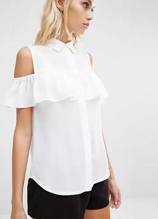 Блуза без рукавов с оборками / воланами на плечах