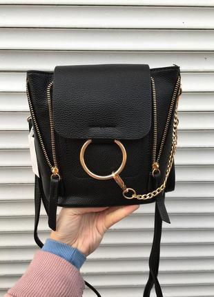 Сумочка клатч рюкзак через плечо чёрный чёрная на шлейке короткой длинной