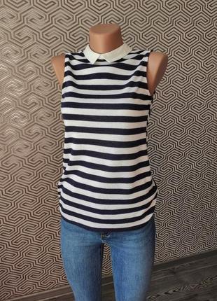 Блуза футболка с воротником в полоску безрукавка dorothy perkins
