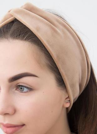 Бархатная велюровая повязка на голову