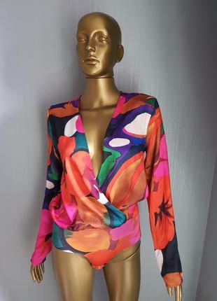 Яркий боди блузка zara