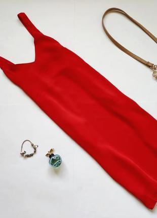 Летнее красное платье миди сарафан h&m