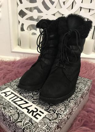 Ботинки нубук зима, натуральный нубук