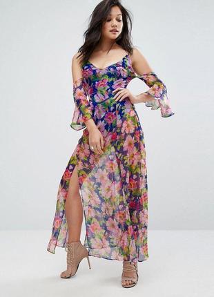 Распродажа великолепное летнее платье prettylittlething макси с полуоткрытой спиной с asos