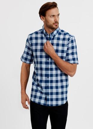 Синяя мужская рубашка lc waikiki  лс вайкики в голубую клетку, с карманом на груди