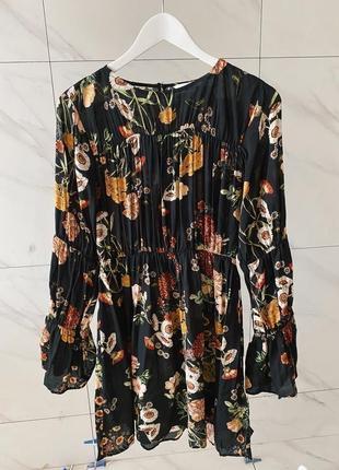 Чёрное цветочное платье h&m