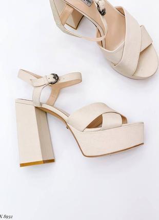 Босоножки боссоножки туфли сандалии на высоком каблуке текстиль эко замш бежевые