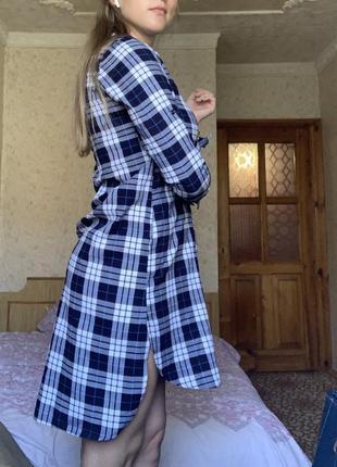 Платье рубашка с длинным руковом, в клетку, в клеточку