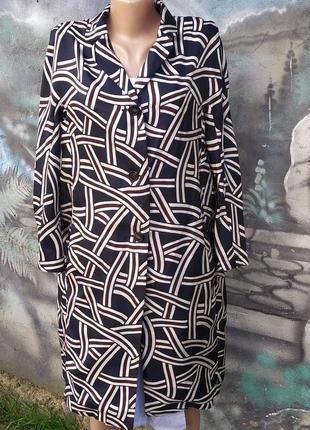 Стильный летний удлиненный пиджак жакет блейзер 100%шелк,абстрактный принт