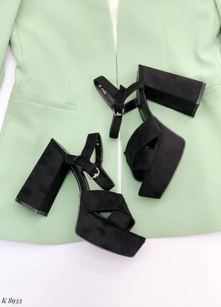 Босоножки боссоножки туфли сандалии на высоком каблуке эко замш чёрные