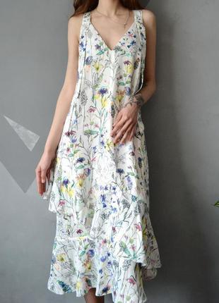 Изумительное цветочное платье миди с оборками h&m 34 36 38 40