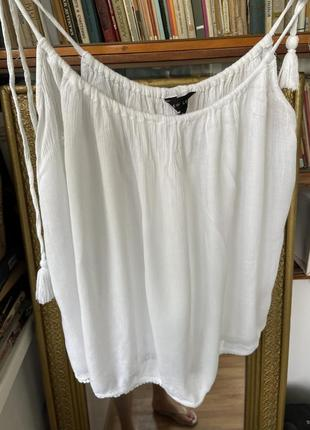 Белая блуза, белая майка, белый топ на бретельках