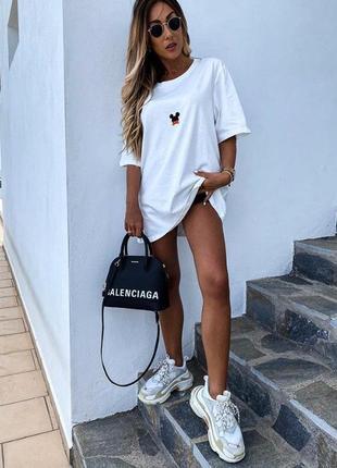 Женская футболка mikki, белая длинная футболка, футболка оверсайз, платье- футболка (арт 100305)