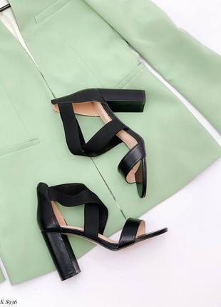Босоножки боссоножки туфли сандалии на высоком каблуке текстиль эко кожа черные
