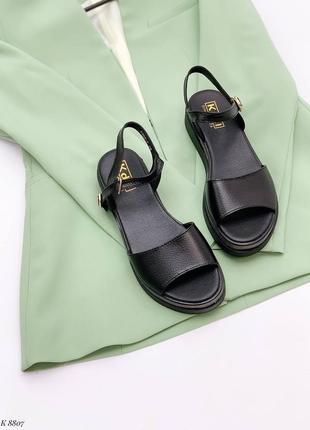 Босоножки боссоножки чёрные натуральная кожа на высокой подошве летние сандали сандалии