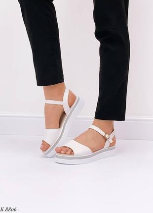 Босоножки боссоножки белые натуральная кожа на высокой подошве летние сандали сандалии4 фото