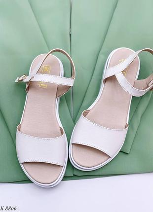 Босоножки боссоножки белые натуральная кожа на высокой подошве летние сандали сандалии3 фото