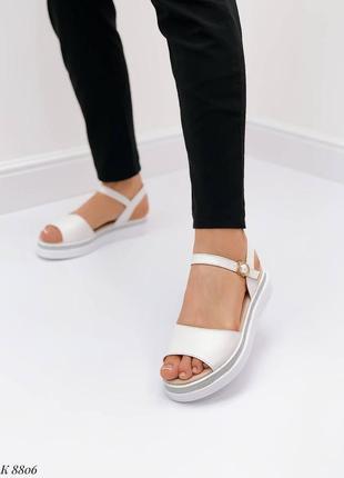 Босоножки боссоножки белые натуральная кожа на высокой подошве летние сандали сандалии7 фото