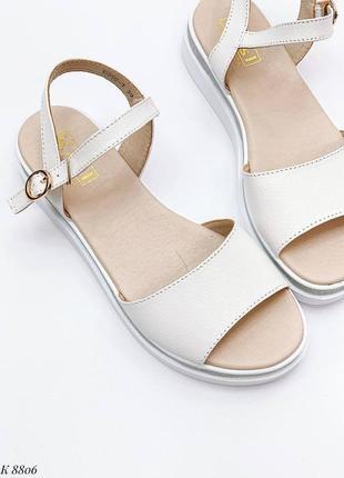 Босоножки боссоножки белые натуральная кожа на высокой подошве летние сандали сандалии6 фото