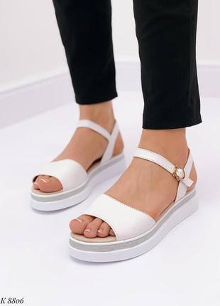 Босоножки боссоножки белые натуральная кожа на высокой подошве летние сандали сандалии5 фото