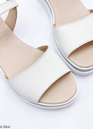 Босоножки боссоножки белые натуральная кожа на высокой подошве летние сандали сандалии10 фото