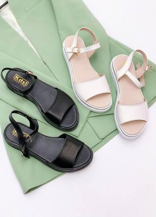 Босоножки боссоножки чёрные белые натуральная кожа на высокой подошве летние сандали сандалии