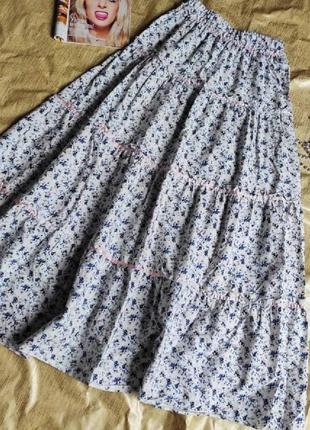 Летняя ярусная юбка в цветочный принт