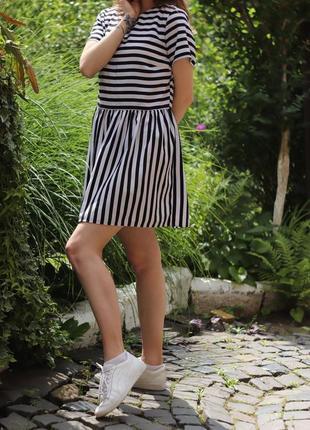 Літня сукня в полоску чорно - білу  🖤 м-ка
