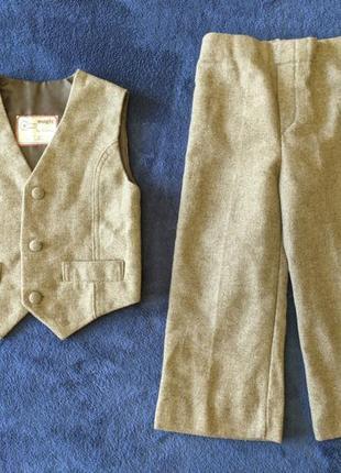 Дитячий костюм штани+жилетка | детский комплект, шерсть англия