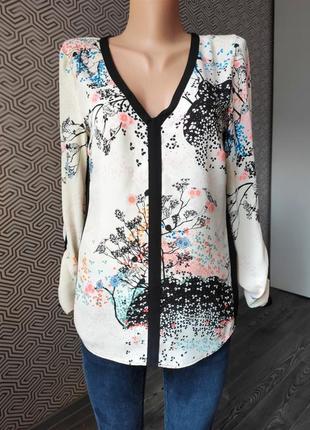 Блуза в цветочный принт белая легкая летняя рукав трансформер warehouse размер 38