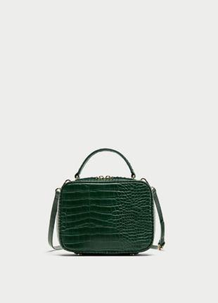 Зеленая сумка со съемным регулируемым плечевым ремнем zara
