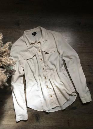 Белая женская рубашка молочного цвета блуза от reserved