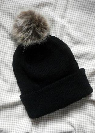 Осенняя шапочка с помпоном, шапка бини