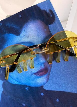 Жёлтые очки на рейв с подвесками-пирсинг пластиковые женские/мужские унисекс4 фото