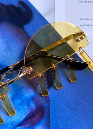 Жёлтые очки на рейв с подвесками-пирсинг пластиковые женские/мужские унисекс5 фото