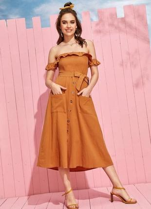 Летнее лляное платье от dilvin цвета кэмел