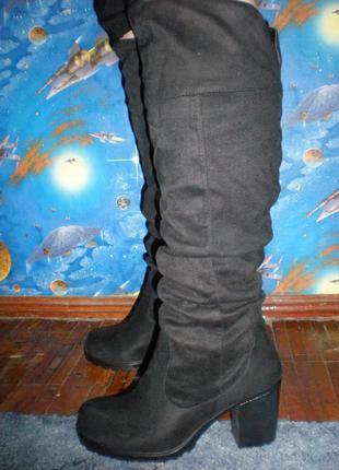 Супер - классные замшевые высокие сапоги -ботфорты от  new look р. 8/42