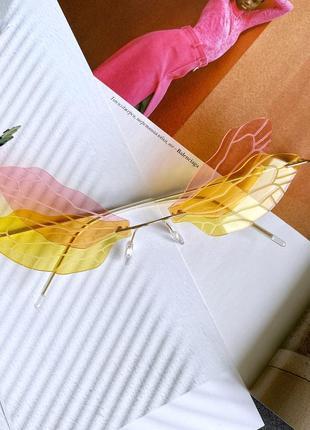 Розовые-жёлтые очки в форме бабочка на рейв пластиковые женские2 фото
