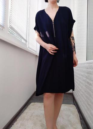 ‼️акция‼️темно синие свободное платье  большой размер, базовое легкое миди платье