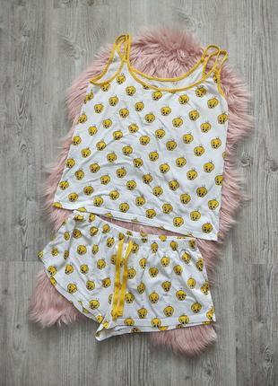 Трикотажная хлопоковая пижама домашний костюм с цыпленком looney tunes l