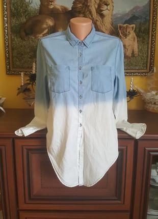 Коттоновая (джинс) рубашка с омбре