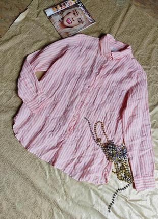 Рубашка в полоску лен