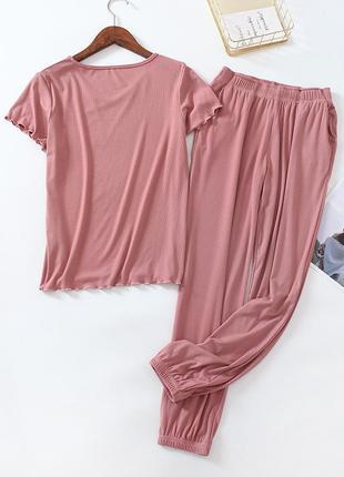 Нежный комплект для дома или сна (штаны + футболка), вискоза в рубчик