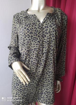 🦋🦋🦋🦋🦋трендовая стильная катоновая рубаха блузка принт леопард хакки charles voegele