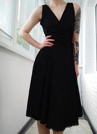 Винтажное ретро платье в мелкий горох, миди платье клеш